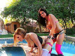 Лесбиянки страпон русское смотреть бесплатно