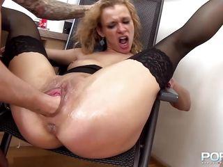 Секс грубый фото раком с блондинками